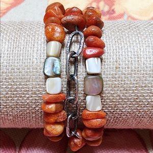 VGUC SILPADA 925 Coral Abalone 3-Strand Bracelet